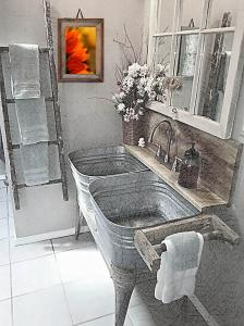 Rustic Bathroom With Sunflower